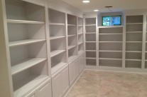 Basement poplar bookcases